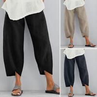 ZANZEA Femme Pantalon Asymétrique Couleur Unie Taille elastique Jambe Large Plus