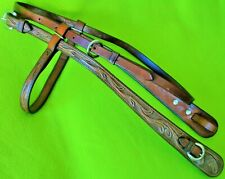 Terrific Vintage TOOLED Leather Wide Cheek HEADSTALL Bridle~GREAT Condition~NR