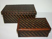 Set of 2 Leather Covered Storage Boxes Room Decor