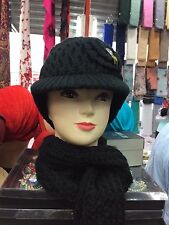 LADIES WOMEN'S GIRL'S  WOOLLEN DIAMANTE HAT AND SCARF SET UK
