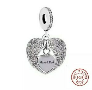 💖 Mum And Dad Angel Wings Love Heart Charm Genuine 925 Sterling Silver 💖