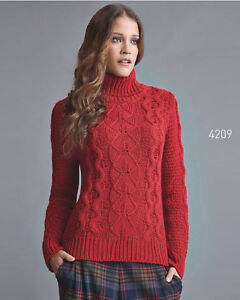 Women Top Quality Crimson Cable Knit Roll Neck Jumper  European Products