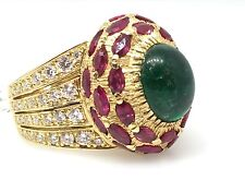 Vintage Emerald Cabochon, Ruby & Diamond High Dome Cocktail Ring in 18K - HM1542