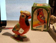 Vintage 1990s Chinese Metal Toy Wind-Up Jumping Parrot NOS