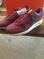 NIKE AIR MAX 1 PREMUIM BORDEAUX DESERT MOSS BLACK PATTA  875844 601 MENS SIZE 12