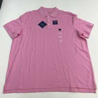 NWT Croft & Barrow Pique Polo Shirt Men's 2XL XXL Short Sleeve Pink Easy Care