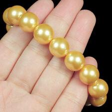 12mm Man Made Yellow Pearl Round Beads Bracelet ChainBPH47