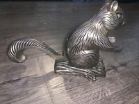 Vintage Squirrel On Log Nutcracker Silver Plated Godinger Silver Art Co.
