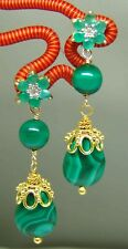 Emerald Malachite Gemstone Chandelier Earrings Vermeil Sterling Silver