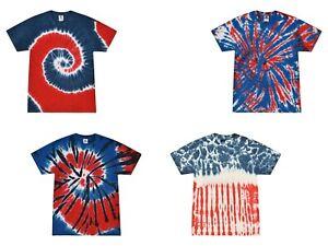 Tie Dye T-Shirts, Multi-Color Patriotic, Kids Sizes, Short Sleeve, 100% Cotton