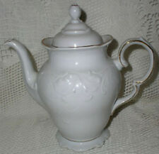 Wawel White Coffee Pot Scalloped Embossed w/ Gold Trim