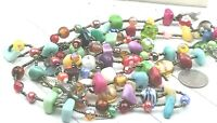 Vintage Style Necklace Lampwork Art Glass & Stone Bead Long Two Strand Charms