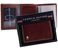 Brand New Genuine Leather Tommy Hilfiger Men's Logan Trifold Tan Zipper Wallet