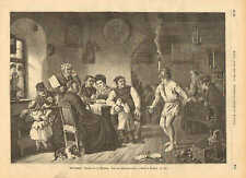 Tavern, Beer, Juggler, Organ Grinder, Sword Swallower, 1873 German Antique Print