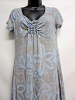 Fresh Produce Short Sleeve V-Neck Emma Dress Womens Size Small Gray Blue