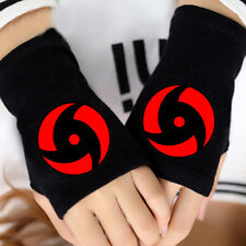 Naruto Uchiha Sasuke  Sharingan Cosplay Cotton Knitted Gloves Fingerless Mittens