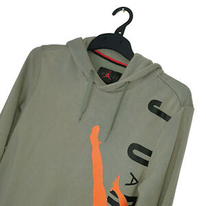 Men's AIR JORDAN Premium Vintage Green Basketball Hoodie UK Size S