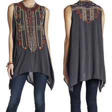 Johnny Was Biya M Embroidered Sleeveless Long Tunic Blouse Grey New With Tags