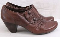 Bare Traps Tyley Brown Leather Slip On Button Heel Bootie Women's U.S. 9.5M