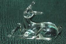 VINTAGE CLEAR GLASS  DEER FIGURINE PAPERWEIGHT