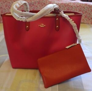 NEW Coach Reversable 2 In 1 City Tote + Pouch Caemine/Pink F36609 $350