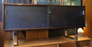 Vintage 1970s Gordon Russell Chrome and Rosewood veneer sideboard