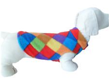Dog Jumper RAINBOW SQUARE PRINT FLEECE Sweater Pullover Coat Vest XXS- XL