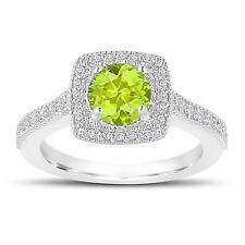 1.33 Carat Peridot Engagement Ring, Wedding Ring 14K White Gold Halo Pave