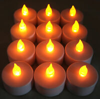 12 pieces AMBER Tea Light LED Flameless Candle Wedding Party Table Decoration