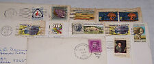 11-USED POSTAGE STAMPS-USA-CANCELLED WITH ENVELOPE/POST MARK-1950-1975