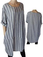 Gr. 46/48 Kleid Leinenkleid Sommerkleid Kurzarmkleid gestreift Blau/Weiß ITALIEN