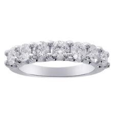 1.60 Carat Ladies 7 Stone Diamond Wedding Anniversary Band Ring 14K White Gold