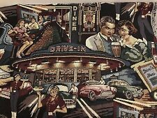 "BY THE YARD  50's DRIVE IN DINER HAPPY DAYS THEME UPHOLSTERY FABRIC 54"" wide"