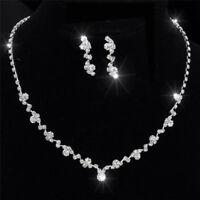 Silber Brautjungfer Kristall Halskette Ohrringe Set Hochzeit Brautschmuck CJ