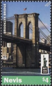 BROOKLYN BRIDGE New York City Stamp (2016 Nevis)