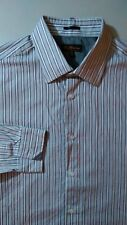 BEN SHERMAN Dress Shirt Size XL ( 17 - 34/35 ) Gray Brown White Stripe pattern