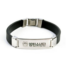 1pcs Fashion Korean KPOP BTS Titanium Steel Silicone Wristband Bracelet Gifts