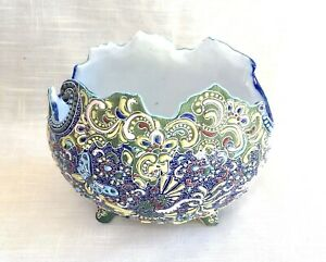 Gorgeous Antique Moriage Footed Vase/Bowl with Colorful Butterfly/Dragon, Japan