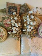 Vintage Homco Large Gold Cream Roses Flowers Syroco Wall Plaques Pair