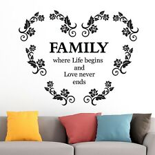 Family Where Life Begins Heart Room Home Wall Vinyl Sticker Quote Decal BLACKN5