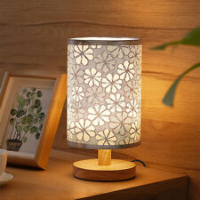 Fabric Desk Table Lamp Beside Nightstand Flower Pattern Cylinder Wooden Base