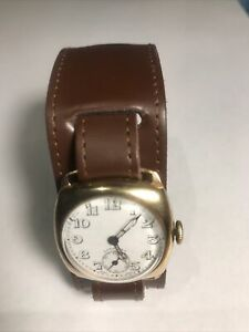 Vintage 1944 Longines 9ct Gold Trench Watch 15 Jewel Swiss. Fully Working.