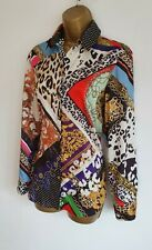 River Island BNWT Black Multi Chain Animal Scarf Print Smart Blouse Top 6-8