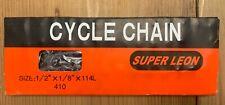 "SUPERLEON 1/2""x1/8"" 114L BMX TRACK SINGLE SPEED BIKE CHAIN WITH MASTER LINK."