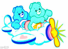 """6"""" CARE BEARS AIRPLANE BEDTIME WISH BEAR CHARACTER FABRIC APPLIQUE IRON ON"""