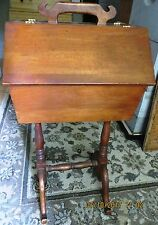 Antique Cherry Wood Sewing Box w/ Stand