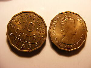 Seychelles 10 Cents, 1953, Uncirculated