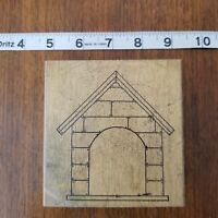 Dog House Fireplace Brick Wood Mount Vintage Rubber Stamp Azadi Earles