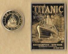 RMS TITANIC APRIL 10-15, 1912 23 KT CARD GOLD  COIN