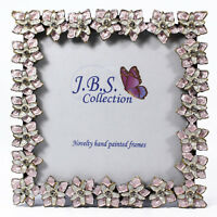 Bejeweled floral pattern photo frame, enamel painted with crystals in pink 3x3
